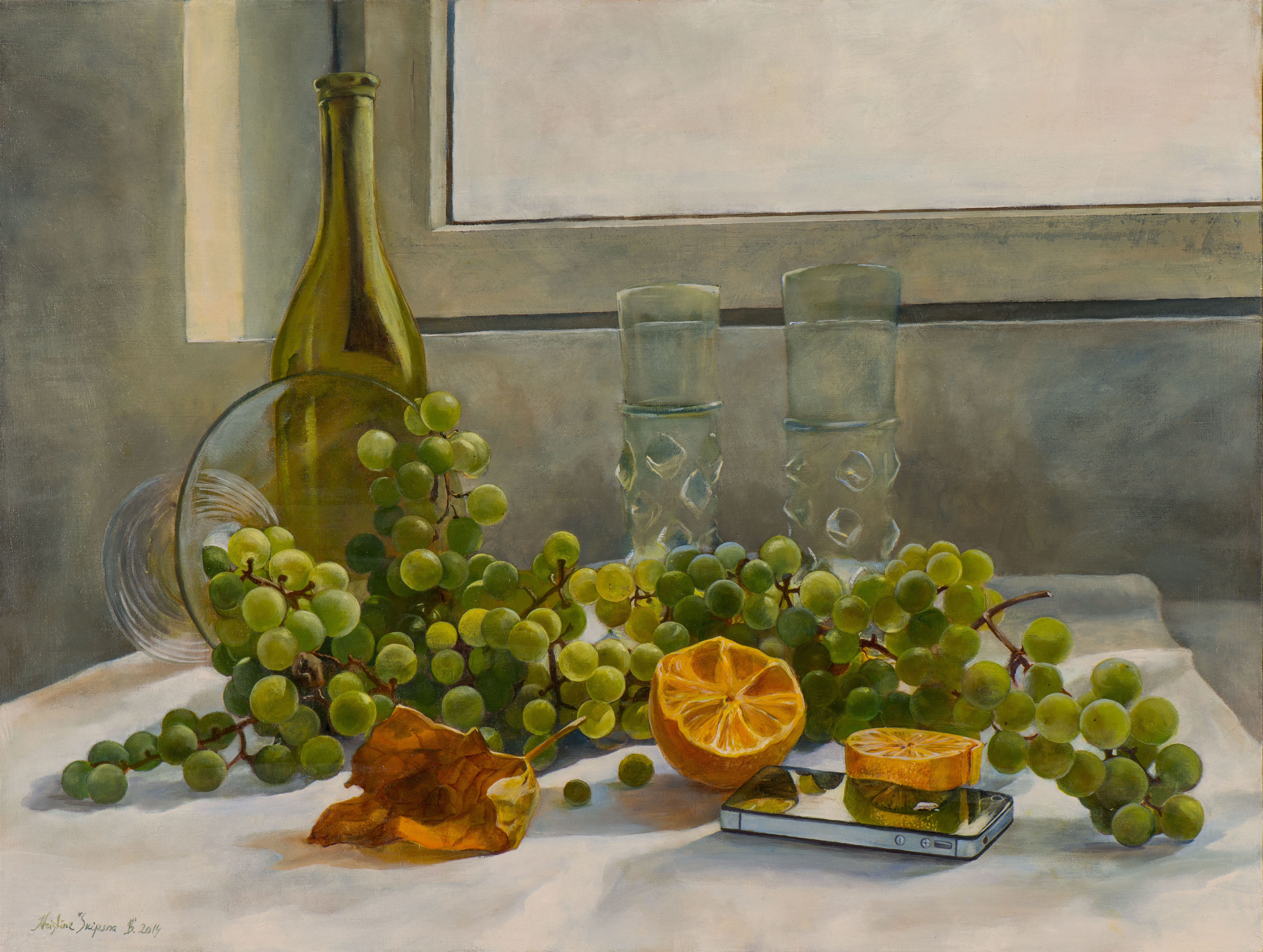 Still life with iphone, 50x60cm, oil on canvas, 2014